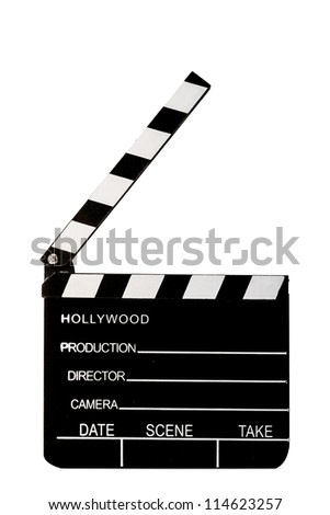 A black wooden movie clapper isolated on a white background.