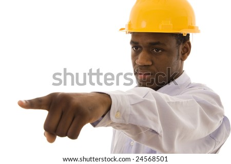 A black worker pointing with his finger to someone