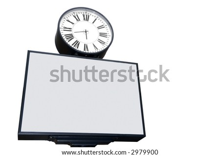 A blank advertising space with a street clock