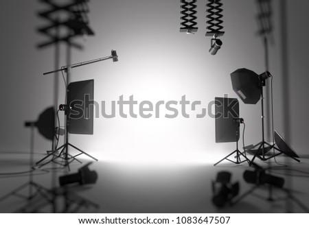 A blank and empty photography studio setup. 3D illustration