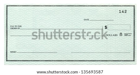 A blank banking check, Isolated on white. #135693587