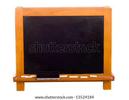 A blank black chalkboard or black board on a white background, with copy space