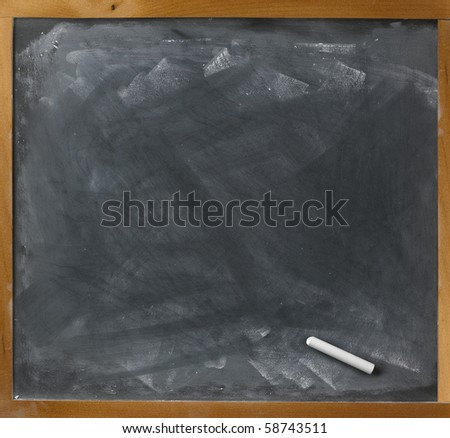 a blank blackboard and chalk straight on