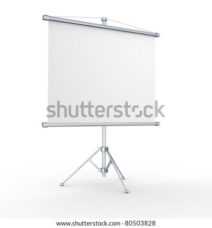 A blank board over white. 3d render illustration