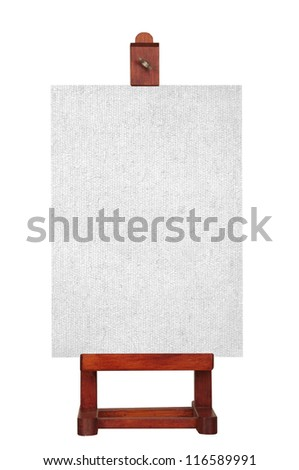 A blank canvas on a wooden easel, isolated on a white background. - stock photo