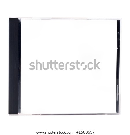 A blank CD case on a white background