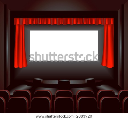 a blank cinema screen lighting up a dark movie theatre for you to place what you like on. Raster version