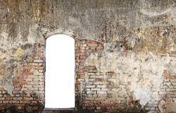 A blank doorway on a grungy decaying brick wall.