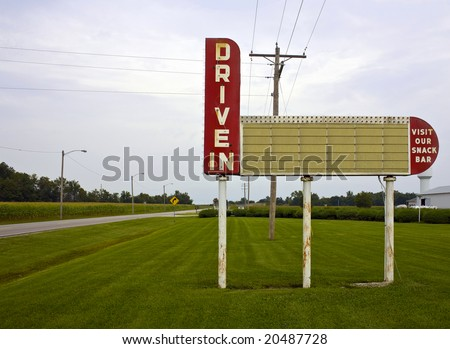 A blank drive-in movie theater sign