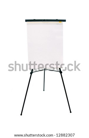 A blank flip chart pad and easel for use with any advertising inference with available copy space.