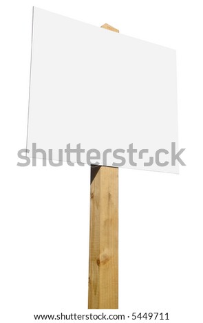 A blank for sale sign on a white background.