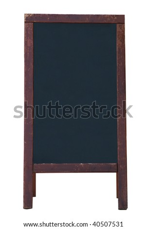 A blank, freestanding blackboard style noticeboard with wooden frame, isolated on a white background.  Weathered frame. Copy space on board.