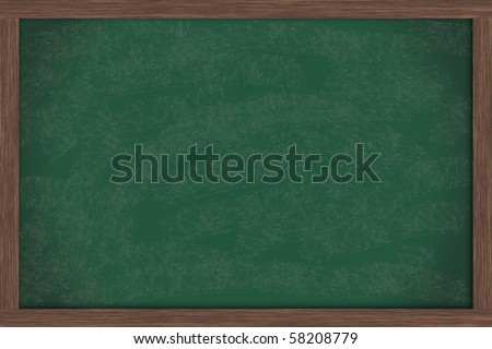 A blank green chalkboard with a wooden frame, chalk board - stock photo