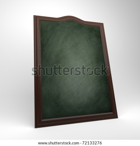 A blank green chalkboard with a wooden frame, chalk board