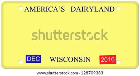 A Blank imitation Wisconsin license plate with December 2016 stickers ready for your text on it making a great concept.  Words on the top America's Dairyland.