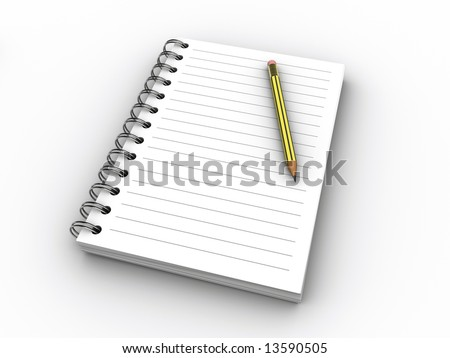 A blank notebook and a pencil on white background - 3d render