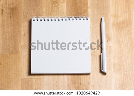 office table top view. A Blank Notebook Page And Pen On Wood Office Table. Top View With Copy Space Table I