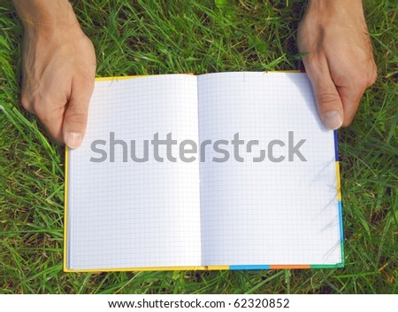 A blank opened book outdoors lying on the green grass.