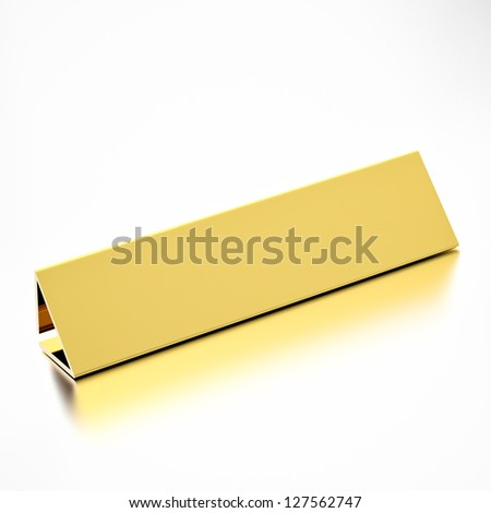A blank or empty nameplate for job title or message, for career professions. 3d render.