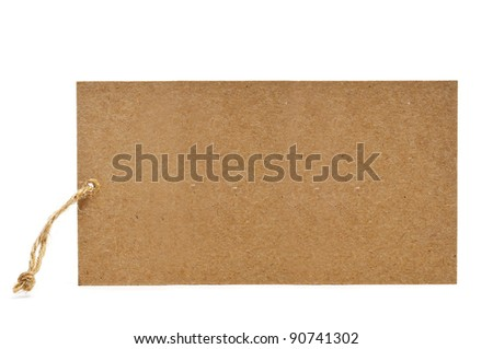 a blank paper label on a white background