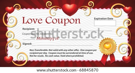 A Blank Printable Love Coupon Gift Minutes