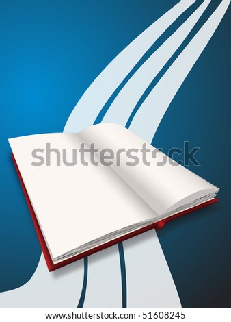 a blank red book on blue navy background