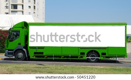 A Blank Sign on a green truck