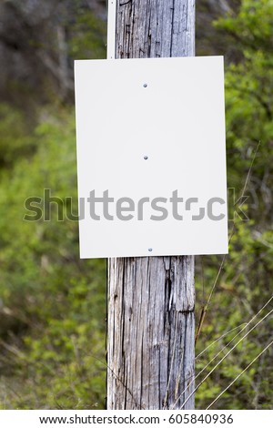 A blank sign on a telephone pole awaits your announcement, ad or message. #605840936