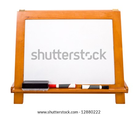 A blank white marker-board on a white background with copy space. Includes a clipping path.