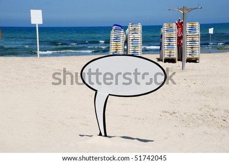 A Blank white Sign by the Sea side