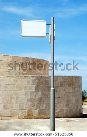 A Blank white Sign on a pole