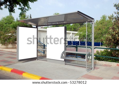 A blank white sign on bus station with a copy space area