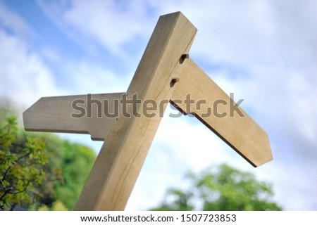 a blank wooden sign post pointing in two directions