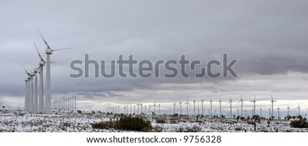 A blanket of snow around the Tehachapi Wind Farm and surrounding areas after a powerful winter storm. The Tehachapi Wind Farm in southern California's Kern county