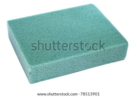 a block of floral foam on a white background - stock photo