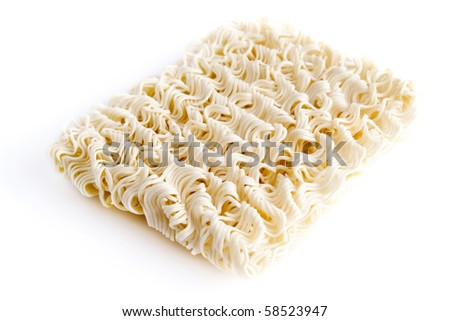 A block of Instant noodles on white background