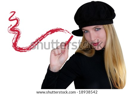 A blond woman is drawing a smudge on an invisible canvas. She is dressed in black
