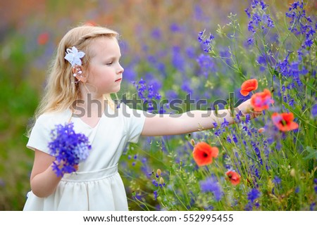 a blonde kid girl collect wild flowers