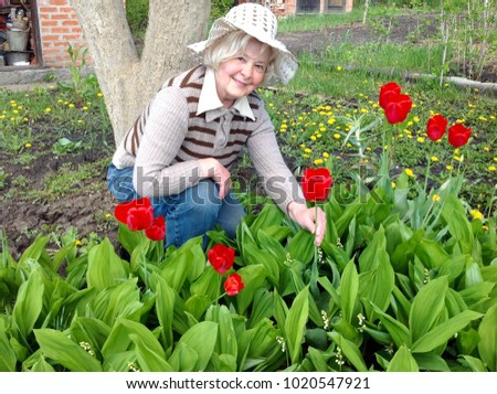A blonde woman in a hat admires spring flowers in the garden. Spring horticultural landscape