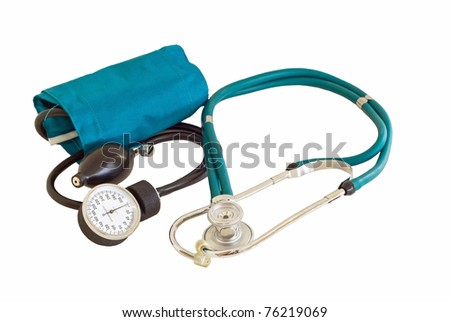 A blood pressure cuff called a sphygmomanometer used to check blood pressure and a stethoscope used to check your heartbeat. These are both used by doctor and nurses and the health care industry.