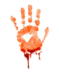 A bloody hand print over a white background.