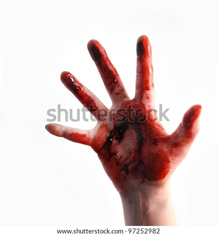 A bloody red hand is isolated on a white background and reaching up. Use it for a violence or fear horror concept.