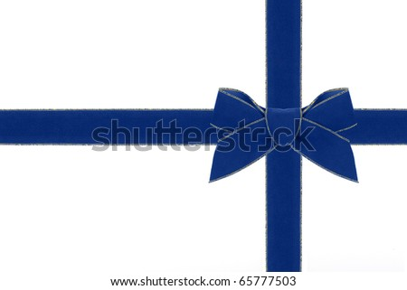 A blue and gold velveteen ribbon