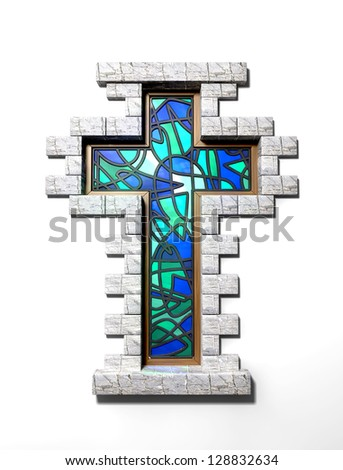 A blue and green stain glass window in the shape of a crucifix with a border of bricks on an isolated background
