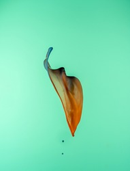 A blue and orange splash on a green background to layer, composite and blend with your own product images to add movement, color and vibrancy to your creations