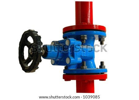 A blue and red Pipe valve (includes clipping path)