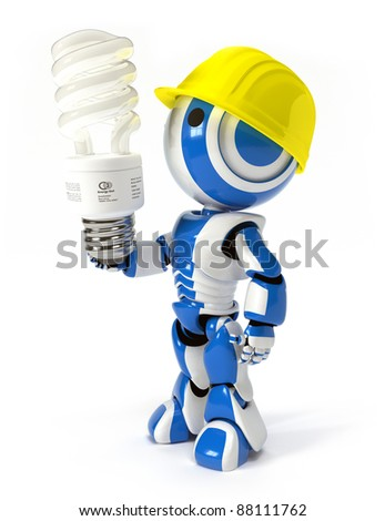 A blue and white robot with energy saver bulb and hard hat, probably an environmental worker.