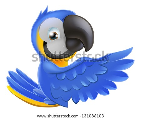 A blue and yellow macaw parrot leaning round a sign or banner and pointing his wing at what is written on it