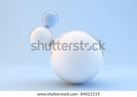 A blue ball with other white under