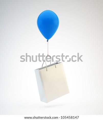 A blue balloon lifting a white shopping bag